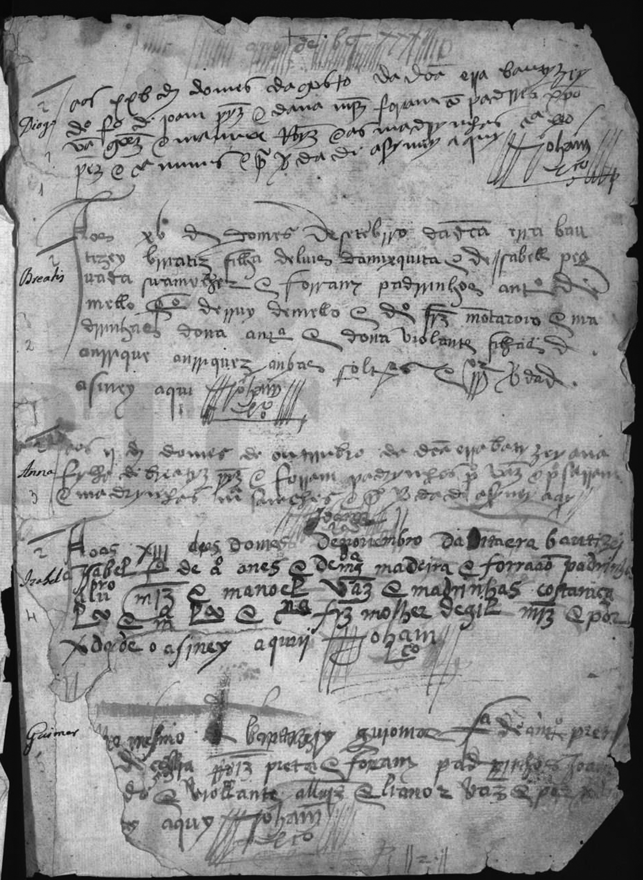 Elvas, Assunção, Livro de Baptismos. 1532